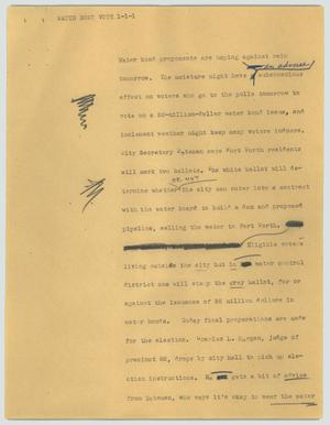 Primary view of object titled '[News Script: Water bond vote]'.