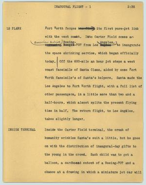 Primary view of object titled '[News Script: Inaugural flight]'.