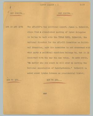 Primary view of object titled '[News Script: Labor leader]'.