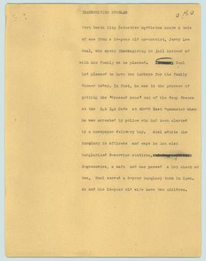Primary view of object titled '[News Script: Thanksgiving burglar]'.
