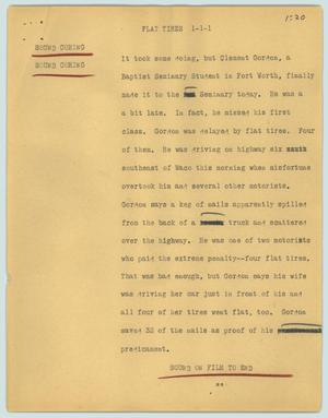 Primary view of object titled '[News Script: Flat tires]'.