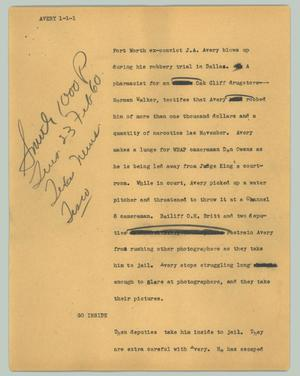 Primary view of object titled '[News Script: Avery]'.