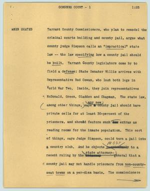 Primary view of object titled '[News Script: Comsnrs court]'.