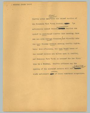 Primary view of object titled '[News Script: Freeway opens]'.