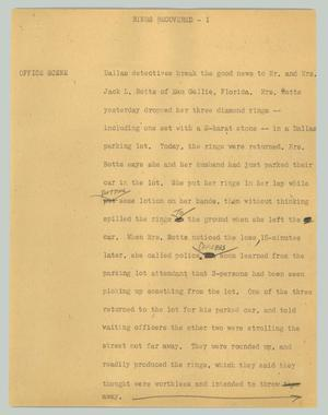 Primary view of object titled '[News Script:Rings recovered]'.