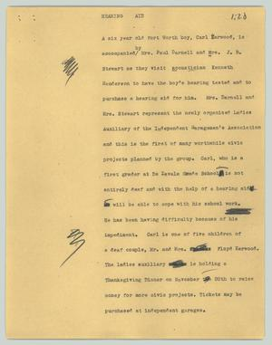 Primary view of object titled '[News Script: Hearing aid]'.