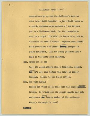 Primary view of object titled '[News Script: Halloween party]'.