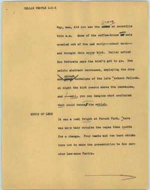 Primary view of object titled '[News Script: Cellar people]'.