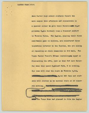 Primary view of object titled '[News Script: Carter team]'.