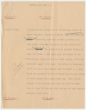 Primary view of object titled '[News Script: Cotton Bowl boys]'.