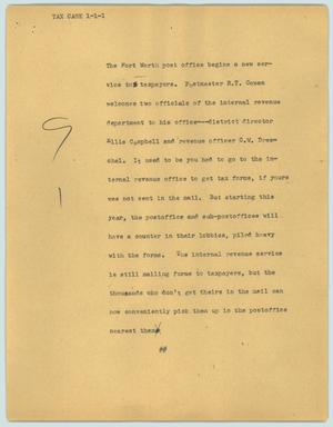 Primary view of object titled '[News Script: Tax case]'.
