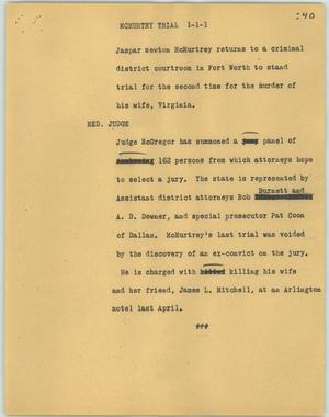 Primary view of object titled '[News Script: McMurtry trial]'.