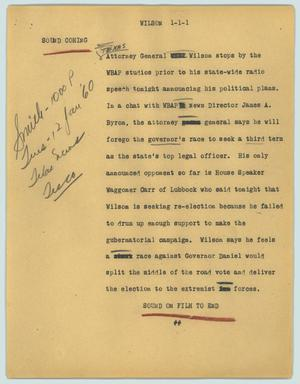 Primary view of object titled '[News Script: Wilson]'.
