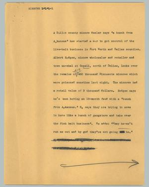 Primary view of object titled '[News Script: Minnows]'.