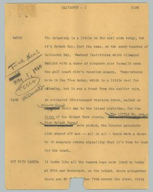 Primary view of object titled '[News Script: Galveston]'.