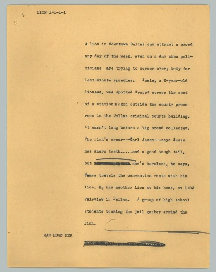 News Script: Lion] - The Portal to Texas History