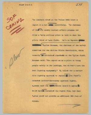 Primary view of object titled '[News Script: Pilot]'.