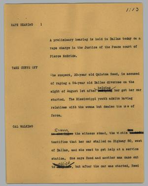 Primary view of object titled '[News Script: Rape hearing]'.