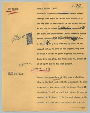 Primary view of object titled '[News Script: Benson speaks]'.