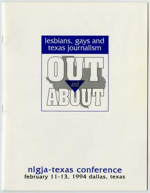 Schedule and program for the lesbians, gays and texas journalism out and about state conference, Out and About Program for the National Lesbians, Gays, and Texas Journalism Conference, 1994-02-11-1994-02-13
