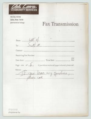 Primary view of object titled '[Fax Transmission: Oak Lawn Community Services]'.