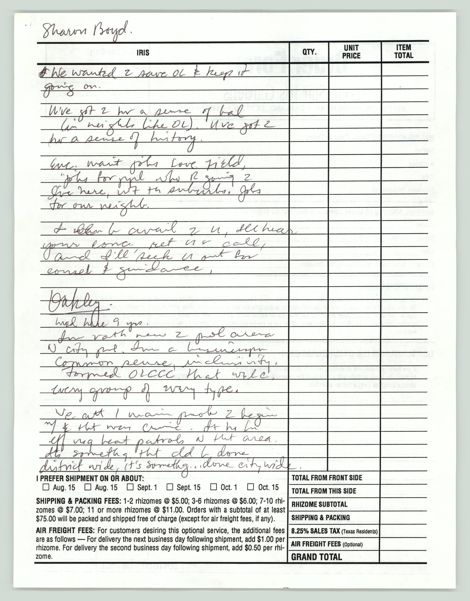 [Handwritten notes on Sharon Boyd], Handwritten notes with statements from the candidates from the 1993 Dallas municipal election.,