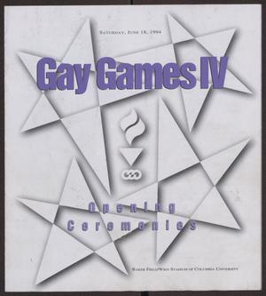 Primary view of object titled '[Gay Games IV opening ceremonies pamphlet]'.