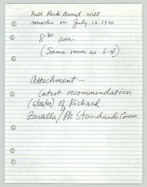 Primary view of object titled '[Handwritten Notes and Letter: Parks and Recreation Board]'.