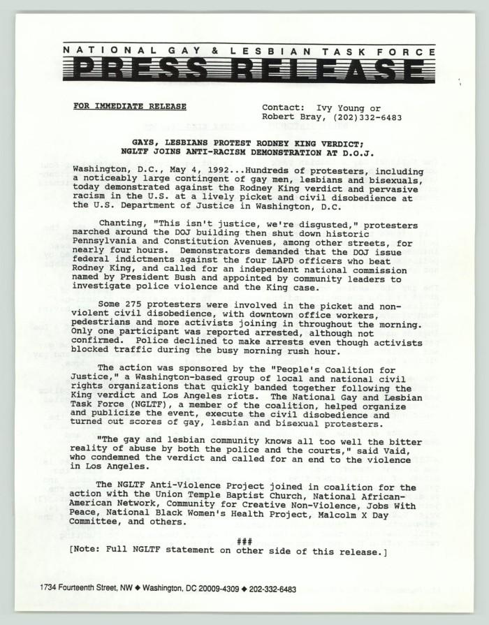 Press release: Gays, lesbians protest Rodney King verdict