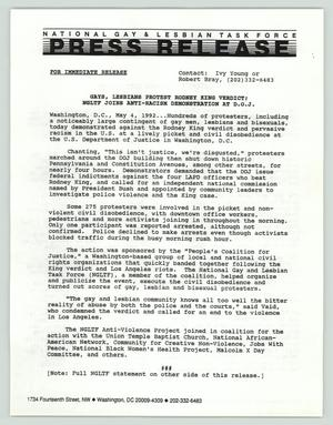 Press release: Gays, lesbians protest Rodney King verdict, National Gay and Lesbian Task Force (NGLTF), 1992