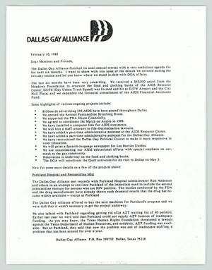 Primary view of object titled '[Letter: Dallas Gay Alliance to its members]'.