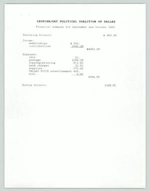 Primary view of object titled '[Financial report: Sept and Oct 1990 Lesbian/Gay Political Coalition]'.