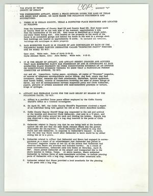 Primary view of object titled '[Search warrant request: Moore v Roberts]'.
