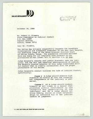 Primary view of object titled '[Copy of Letter from Dallas Gay Alliance to the State Commission on Judicial Conduct]'.