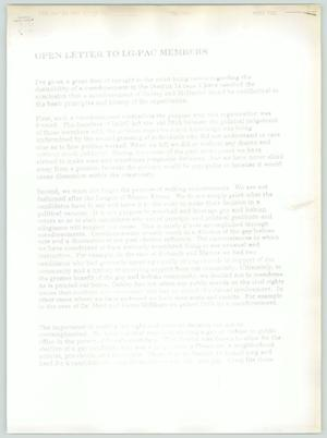 Primary view of object titled 'Open Letter to LG-PAC Members'.