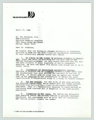 A white page, with the Dallas Gay Alliance on it in the left corner. Under it is a letter.