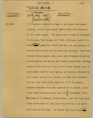 Primary view of object titled '[News Script: Explosives]'.
