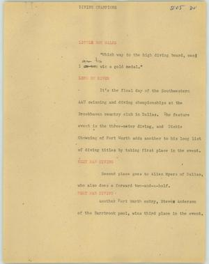 Primary view of object titled '[News Script: Diving chanpions]'.
