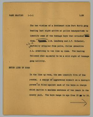 Primary view of object titled '[News Script: Gang beating]'.