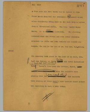 Primary view of object titled '[News Script: Kid shot]'.