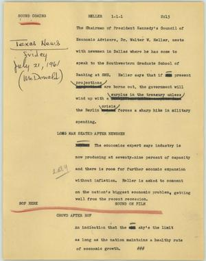 Primary view of object titled '[News Script: Heller]'.