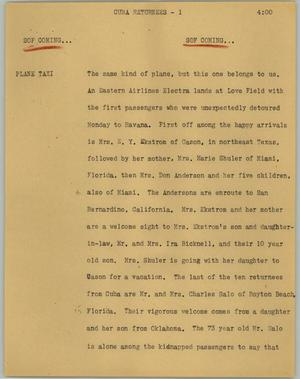 Primary view of object titled '[News Script: Cuba retunees]'.