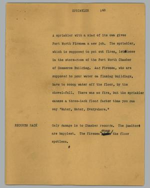 Primary view of object titled '[News Script: Sprinkler]'.