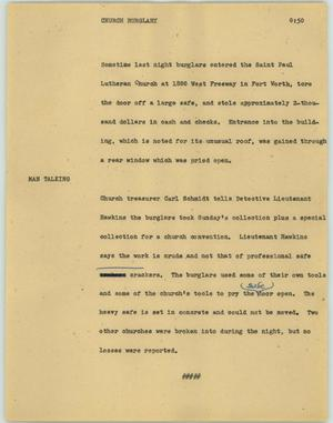Primary view of object titled '[News Script: Church burglary]'.
