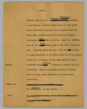 Primary view of object titled '[News Script: Cellar]'.