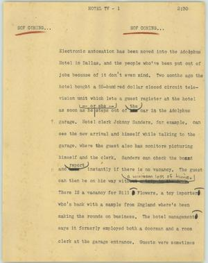 Primary view of object titled '[News Script: Hotel TV]'.