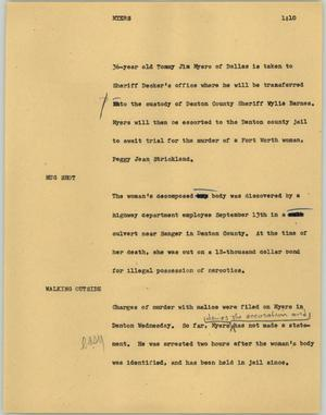 Primary view of object titled '[News Script: Myers]'.