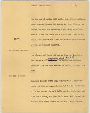 Primary view of object titled '[News Script: Murder charges filed]'.