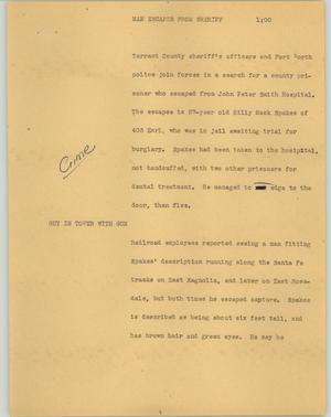 Primary view of object titled '[News Script: man escapes from sheriff]'.