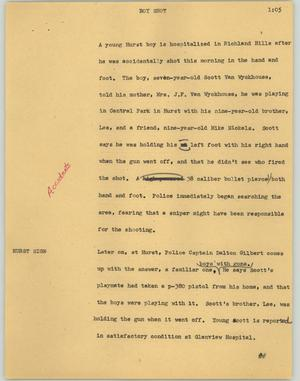 Primary view of object titled '[News Script: Boy shot]'.